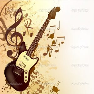 Vector background with detailed bass guitar and notes for design